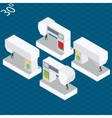 Set modern electronic sewing machines in isometric vector