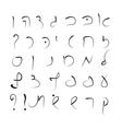 Hebrew alphabet uppercase font hand drawing vector