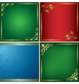 Set - bright cards with golden frames vector