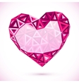 Pink abstract valentines day heart with triangles vector