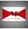 Gift card with red bow vector