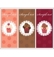 Beautiful card with sweet cupcakes dessert set vector