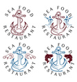 Sea food vintage labels set vector