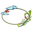 Floral round border frame vector