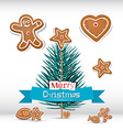 Retro christmas card with branch - tree vector