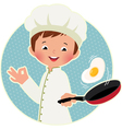 Cook virtuoso flipping an fried eggs or a omelette vector