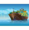 Large cargo ship vector