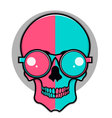 Isolated cartoon red and blue skull vector