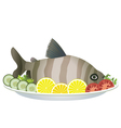 Fish and vegetables on a plate vector