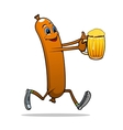 Running sausage with beer vector