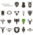 African animal black icons vector