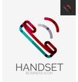 Minimal line design logo phone handset icon vector