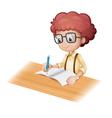 Cartoon student writing vector