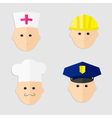 Different professions man head icon set policeman vector