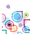 Color abstract background with icons vector