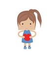 Beautiful girl embraces the heart on a background vector
