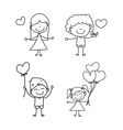 Cartoon hand-drawn love vector