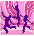 Dancing people in rainbows vector