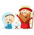 Funny christmas nativity scene with holy family - vector