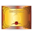 Horizontal royal gold certificate with lace ornate vector
