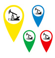 The silhouette of the oil pump on a map marker vector
