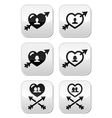 Man and woman couples in hearts with arrow button vector