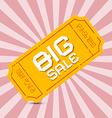 Orange big sale paper ticket on pink background vector