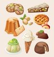 Set of italian desserts vector