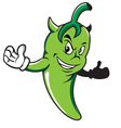 Green chili devil cartoon vector