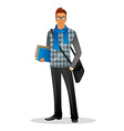 Fashion man with blue scarf vector