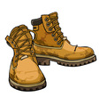 Old torn boots with lacing yellow color vector