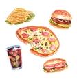 Watercolor fast food lunch menu set vector