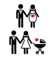Pregnant bride icon bride with pram vector