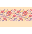 Poppy flowers and birds horizontal seamless vector