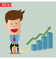 Cartoon business man pumping graph - - eps10 vector