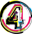 Colorful grunge font number 4 vector
