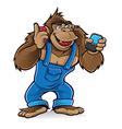 Cartoon gorilla with mobile phones vector