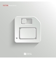 Floppy diskette icon - white app button vector