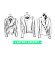 Black and white set with original leather jackets vector