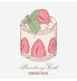 Strawberry cream cake with mint isolated vector