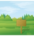 Wood sign on summer landscape vector