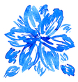 Watercolor hand drawn flower with leaves vector