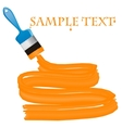 Blue paint brush with orange paint and a place for vector