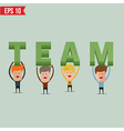 Business man showing team 3d text - - eps10 vector
