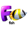 A letter f for fish vector