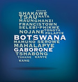 Botswana map made with name of cities vector