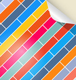 Colorful brick background with bent paper corner vector