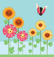 Kawaii flowers and bugs vector
