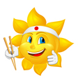 Japan sun with chopsticks vector