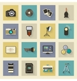 Photo equipment flat icons set with shadows vector